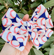 Baseball Hand Tied Fabric Bow Headband | Hair Clip