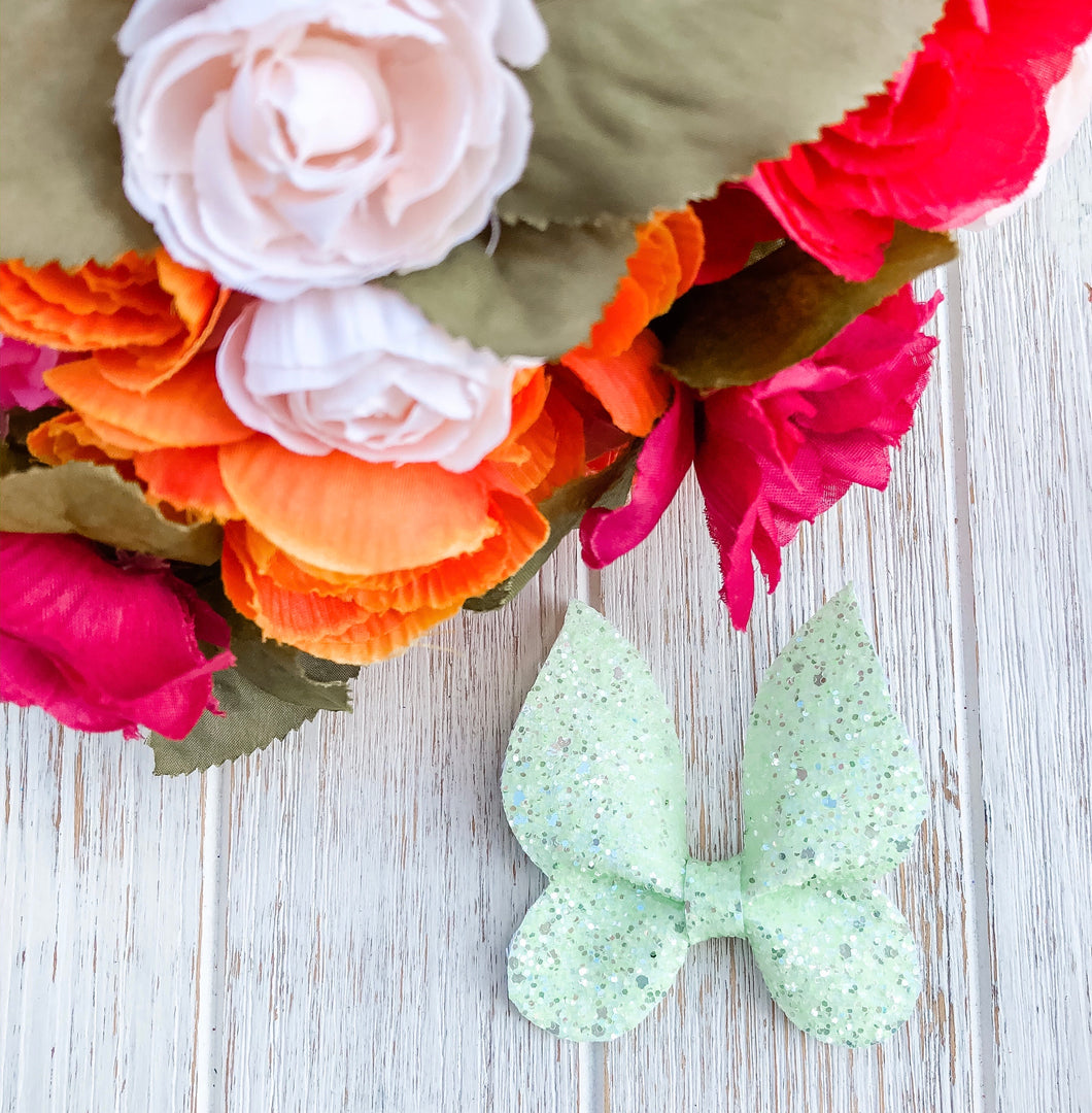 Pastel Green Glitter Butterfly Bow Headband | Hair Clip