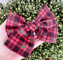 Christmas Buffalo Plaid Tree Hand Tied Fabric Bow Headband | Hair Clip