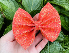 Fall Melon Glitter Bow Headband | Hair Clip