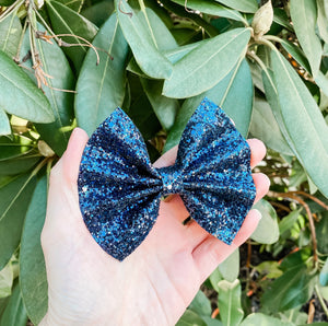 Dark Navy Glitter Bow Headband | Hair Clip