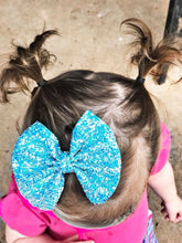 Blue Iridescent Chunky Glitter Bow Headband | Hair Clip