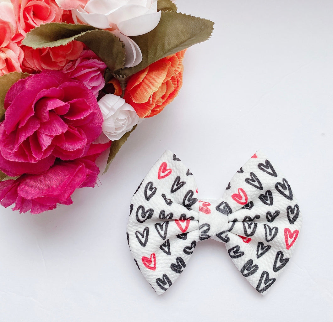Valentine Red & Black Hearts Fabric Bow Headband | Hair Clip
