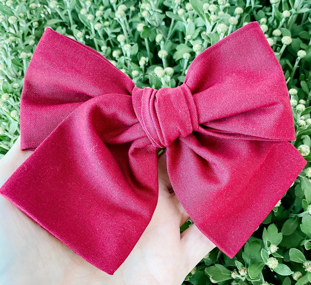 Fall Crimson Hand Tied Fabric Bow Headband | Hair Clip