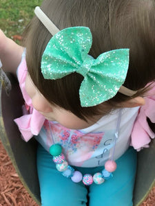 Sea Green Chunky Glitter Bow Headband | Hair Clip
