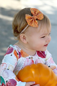 Fall Orange Glitter Bow Headband | Hair Clip