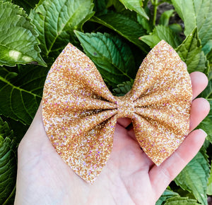 Gold Pixie Dust Glitter Bow Headband | Hair Clip