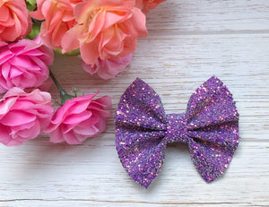 Purple Chunky Glitter Bow Headband | Hair Clip