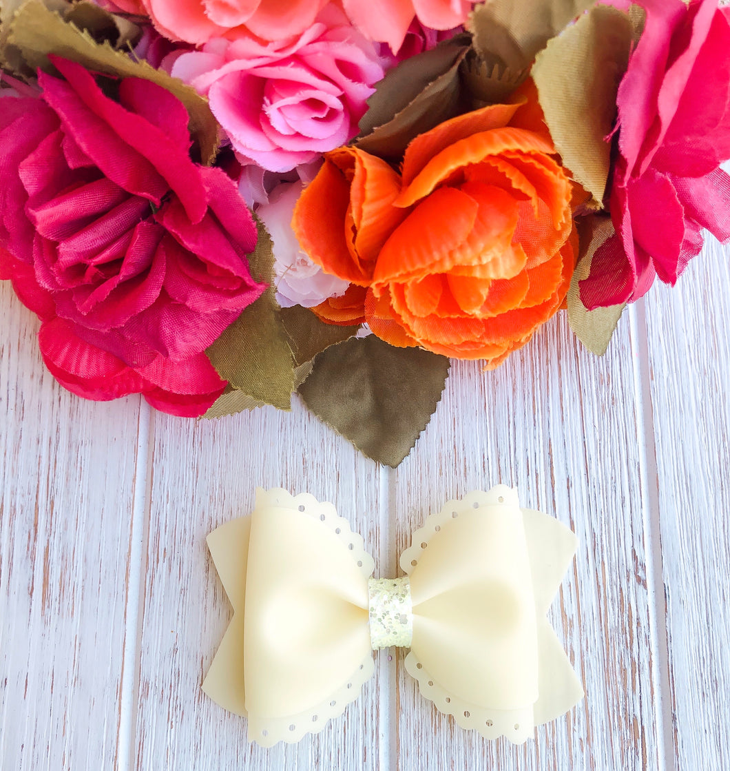 Scalloped Yellow Jelly Pool Bow Headband | Hair Clip