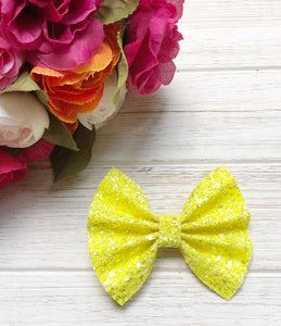glitter, glitter bow, braid, hair clip, girl, toddler, bow, bows, headband, headbands, head wrap, baby, baby shower, baby photography, photography prop, girl hair style, hairstyles, Fabric Bow, faux leather bow, Hair bow, newborn bow, girls hair bow, toddler hair bow, newborn photography, hair accessory, baby girl, pool bow, summer bow, yellow glitter bow