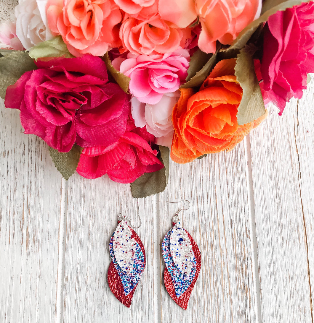 Patriotic Red White Blue Triple Layer Glitter Faux Leather Earrings