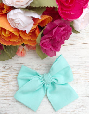 "Spring Mint Hand Tied 4"" Fabric Bow Headband 