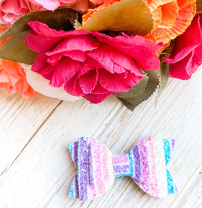 Newborn Mini Stacked Pastel Rainbow Glitter Bow Headband | Hair Clip