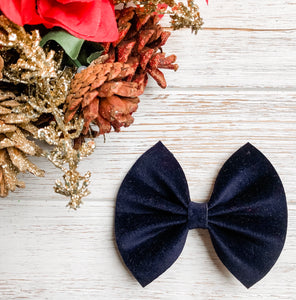Christmas Midnight Navy Velvet Blue Bow Headband | Hair Clip