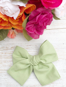 "Spring Green Hand Tied 4"" Fabric Bow Headband 
