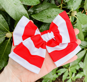 Red Stripe Hand Tied Fabric Bow Headband | Hair Clip