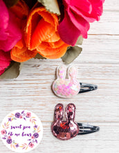 White Iridescent Bunny Sequin Snap Clip | Headband