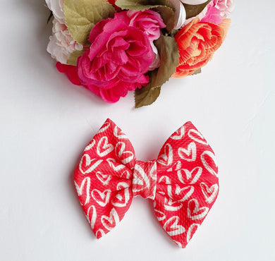 Valentine Red with White Hearts Fabric Bow Headband | Hair Clip