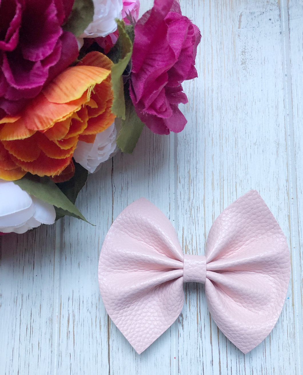 Textured Blush Faux Leather Bow Headband | Hair Clip