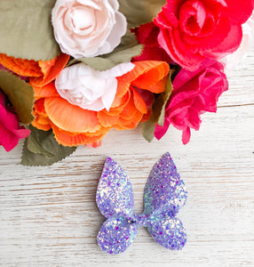 Purple Glitter Butterfly Bow Headband | Hair Clip