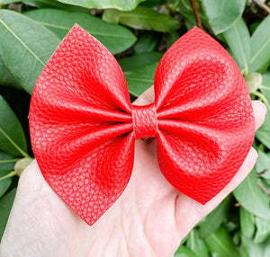 Textured Red Faux Leather Bow Headband | Hair Clip