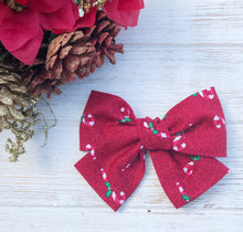 Christmas Candy Cane Hand Tied Fabric Bow Headband | Hair Clip