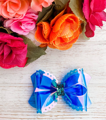 Scalloped Blue Transparent Pool Bow Headband | Hair Clip