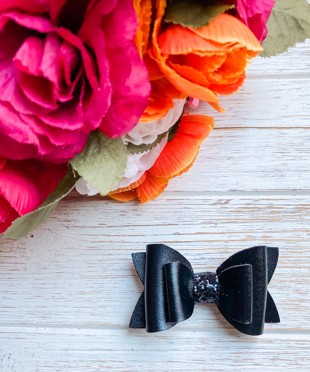 Newborn Mini Stacked Black Faux Leather Bow Headband | Hair Clip