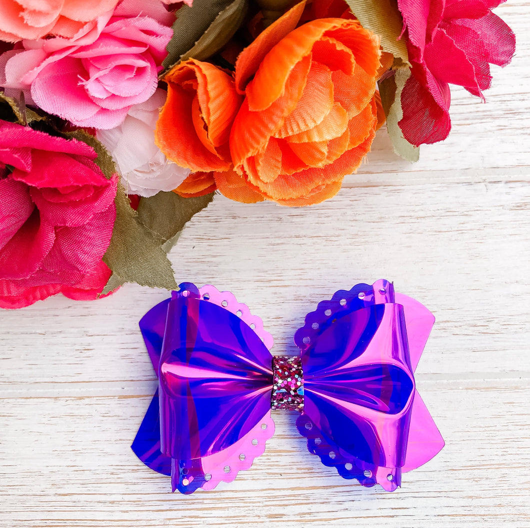 Scalloped Purple Transparent Pool Bow Headband | Hair Clip