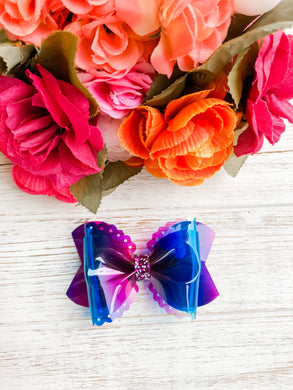 Scalloped Blue Purple Pink Transparent Pool Bow Headband | Hair Clip
