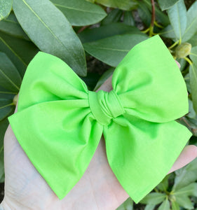 Sour Apple Green Neon Hand Tied Fabric Bow Headband | Hair Clip