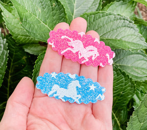 Scalloped Unicorn SET OF 2 Snap Clips