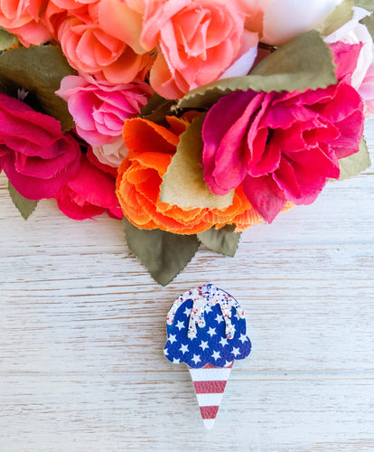 Patriotic American Flag Ice Cream Cone Alligator Clip