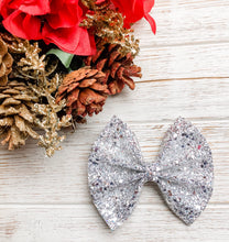 Silver Bells Glitter Bow Headband | Hair Clip