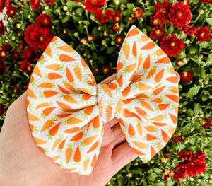Easter Bunny Carrot Fabric Bow Headband | Hair Clip