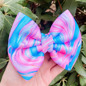 Bath Bomb Scuba Fabric Bow Headband | Hair Clip
