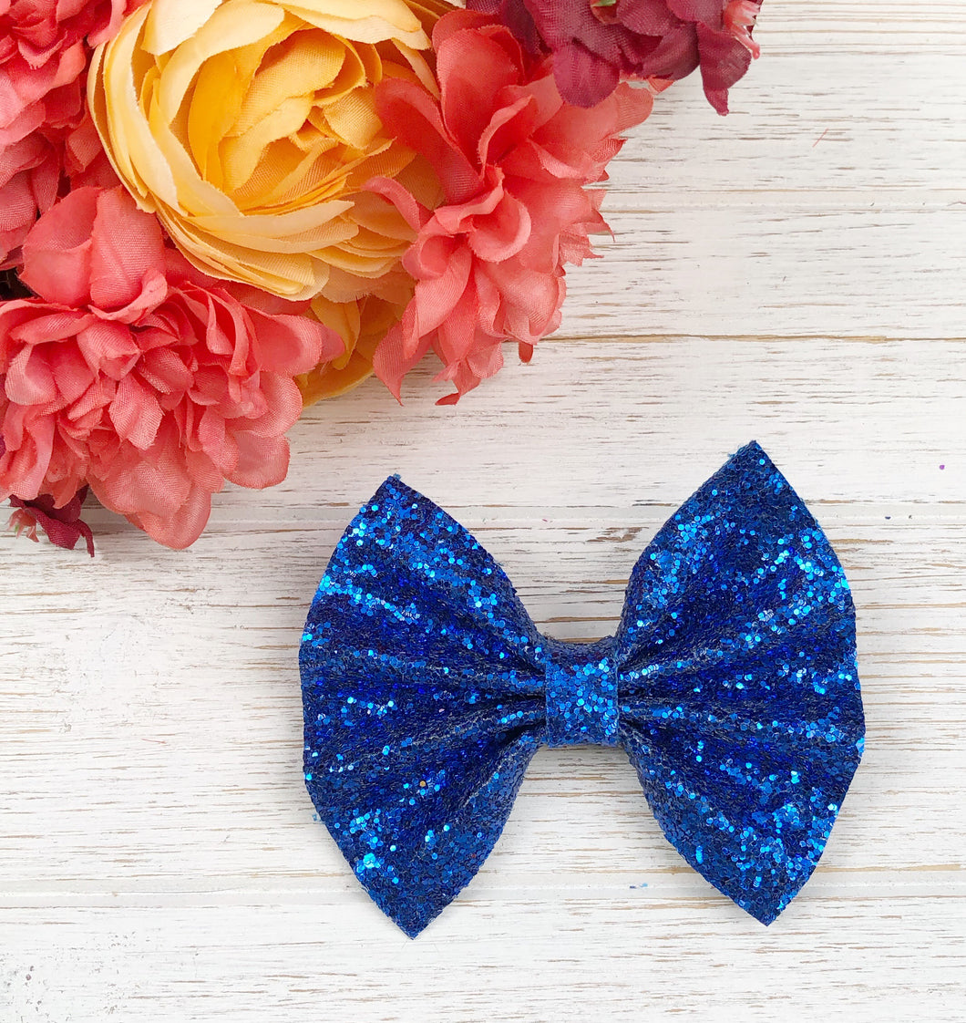 Navy Royal Blue Chunky Glitter Bow Headband | Hair Clip