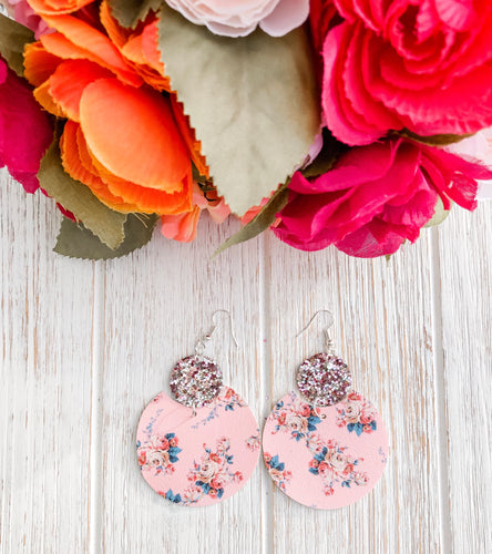 Vintage Floral Glitter Faux Leather Earrings