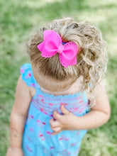 Scalloped Hot Pink Jelly Pool Bow Headband | Hair Clip