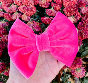 Hot Pink Velvet Fabric Bow Headband | Hair Clip