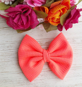 Neon Coral Liverpool Fabric Bow Headband | Hair Clip