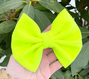 Neon Lime Yellow Liverpool Fabric Bow Headband | Hair Clip