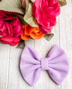 Lilac Purple Liverpool Fabric Bow Headband | Hair Clip