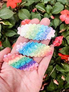 Scalloped Rainbow Lace SET OF 3 Snap Clips