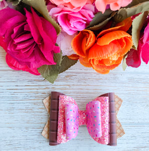 Pink Glitter Ice Cream Cone Triple Stacked Faux Leather Glitter Bow Headband | Hair Clip