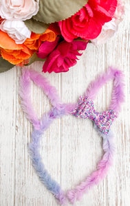 Purple Fur Glitter Mix  Bow Headband