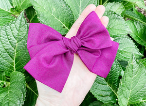 Fall Berry Hand Tied Fabric Bow Headband | Hair Clip