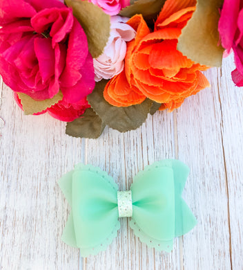 Scalloped Fresh Mint Jelly Pool Bow Headband | Hair Clip