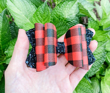 Christmas Lumberjack Blitz Buffalo Plaid Faux Leather Glitter Bow Headband | Hair Clip