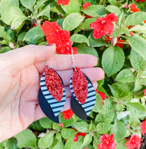 Red with Stripe Glitter Faux Leather Earrings